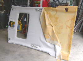 We remove the headliner shell to recover it correctly