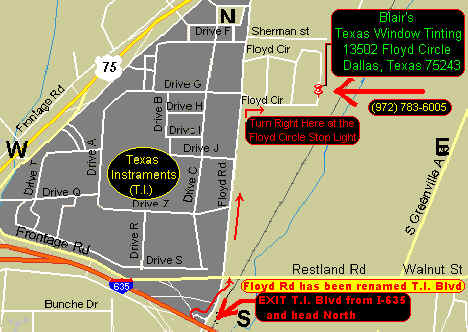 Exit T.I. Blvd. FROM I-635 (LBJ Frwy) and head North to the Floyd Circle stop light and turn right